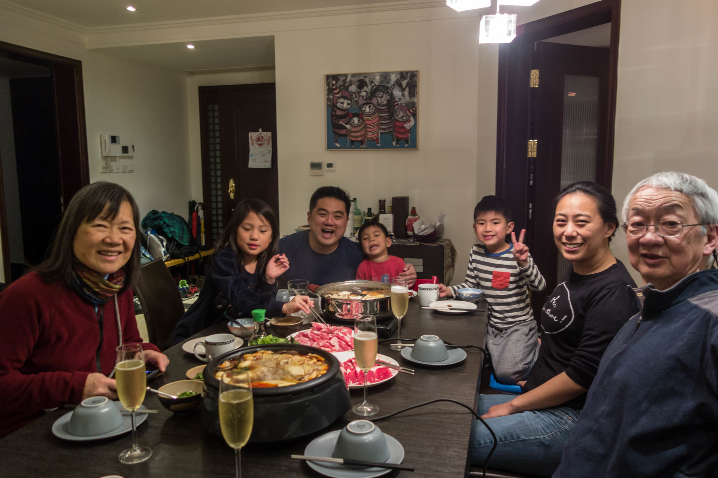 Dinner with Clarissa and James and kids in their apartment