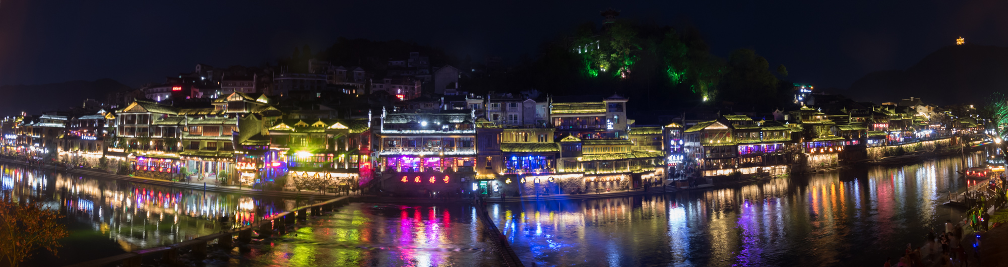 Panorama view across the river at night