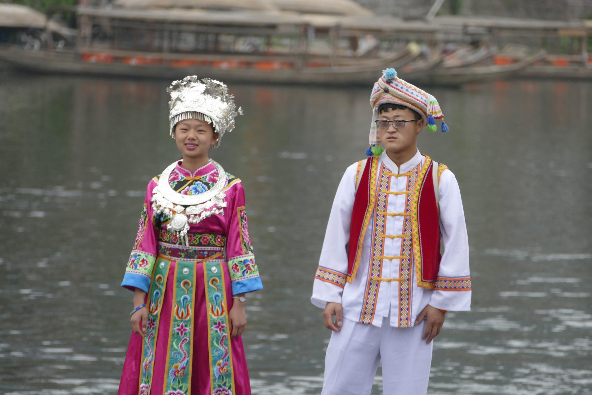 Posing in minority costumes