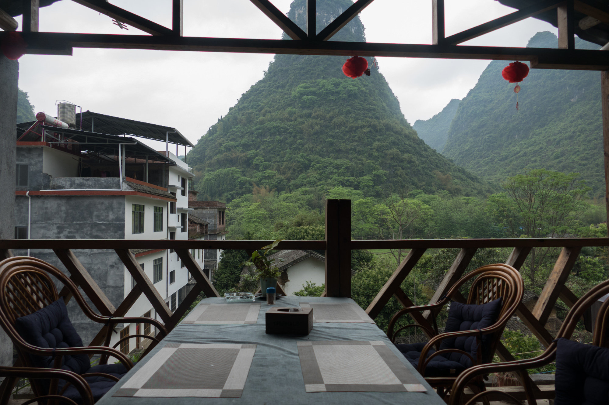 View out of the room for eating breakfast at our Airbnb in Jima village near Yangshuo