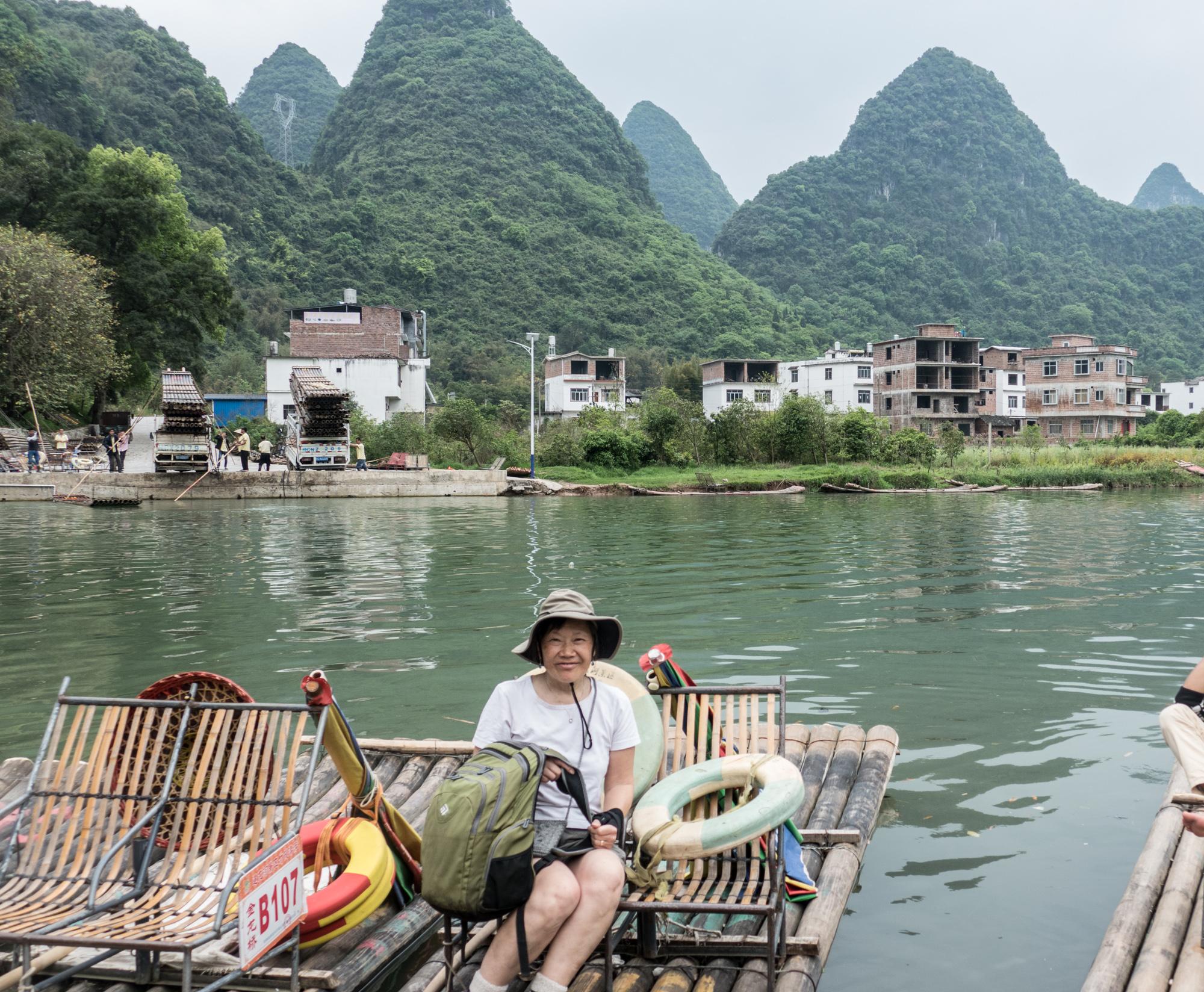 Preparing for the raft ride down the Yulong River in Yangshuo