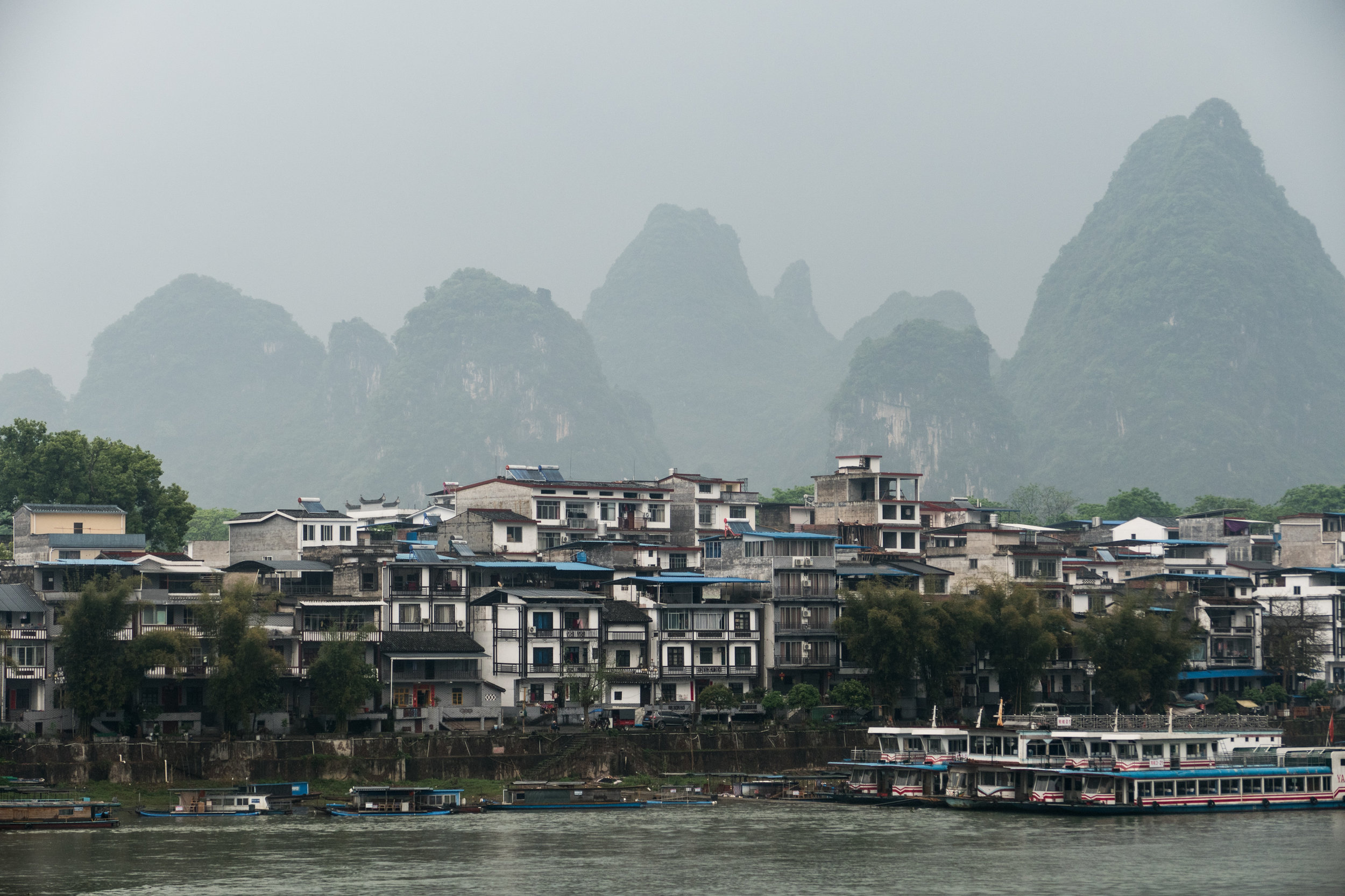Backdrop of karsts over Yangshuo