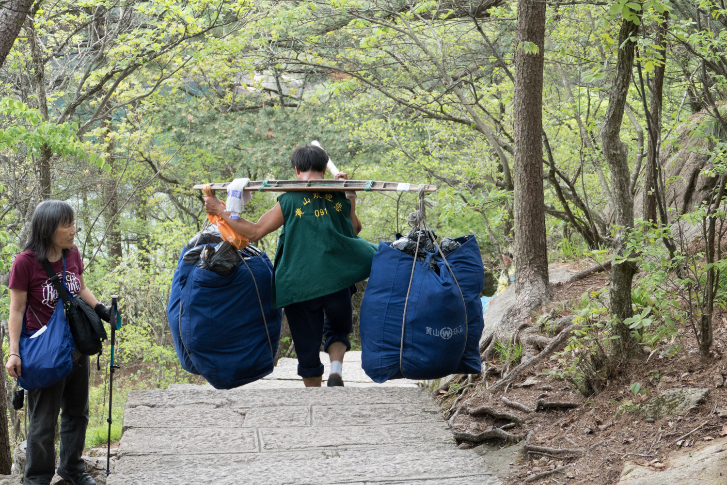 Carrying garbage down the mountain the hard way