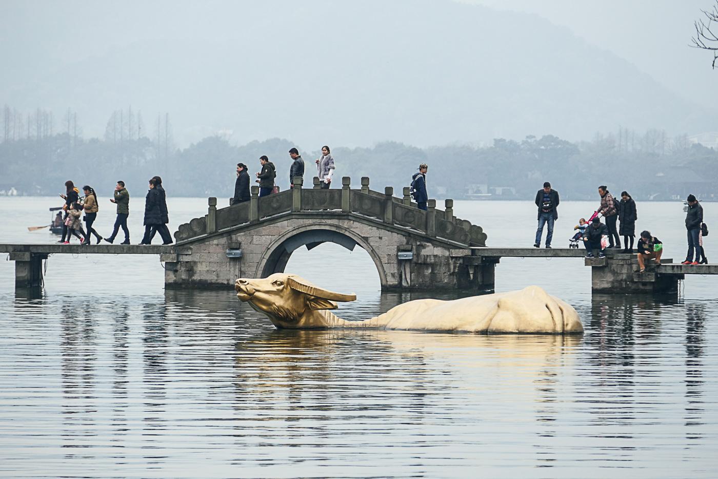 Scenic bridge and the golden cow