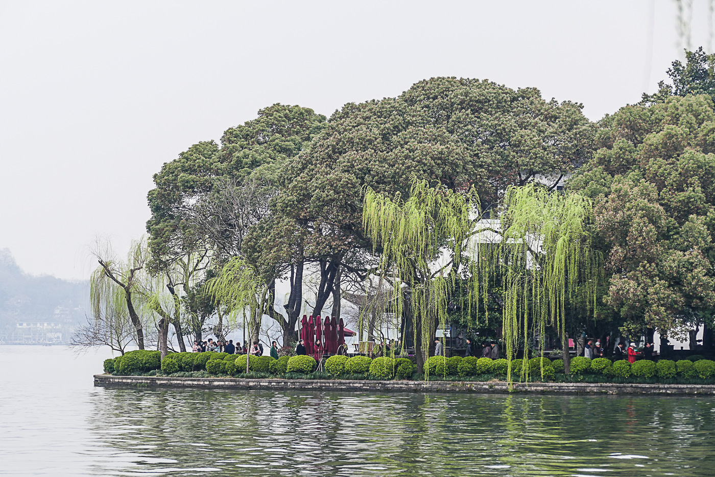 Willow trees dot the shores of West Lake