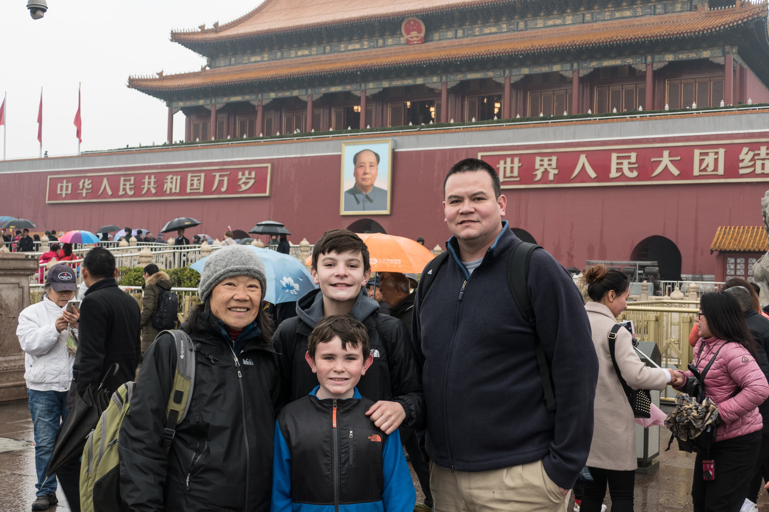 Tiananmen Square with the Great Helmsman watching