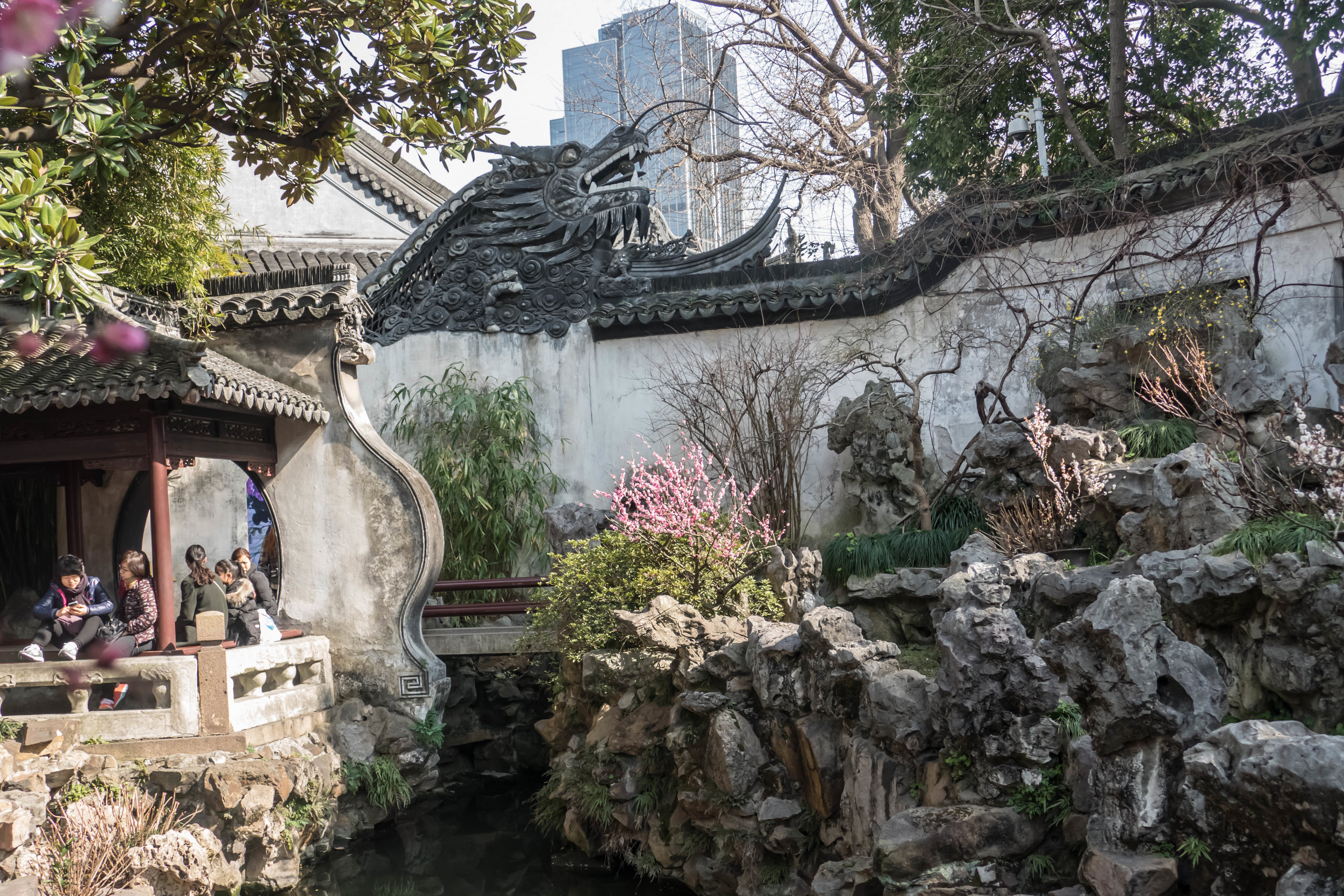 Head of the dragon wall in Yu Yuan