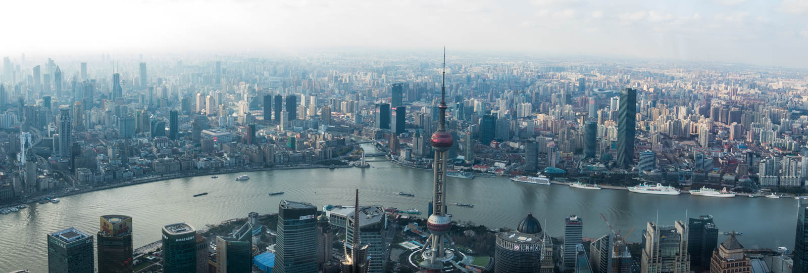View from the top of the Shanghai World Financial Center. The Bund is across the river on the left