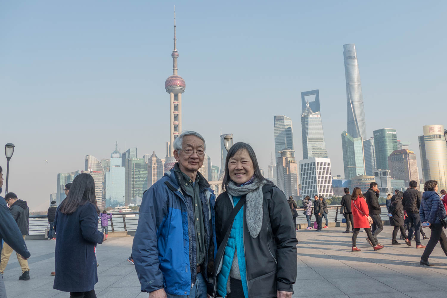 An old fashioned selfie on the Bund with Pudong in the back
