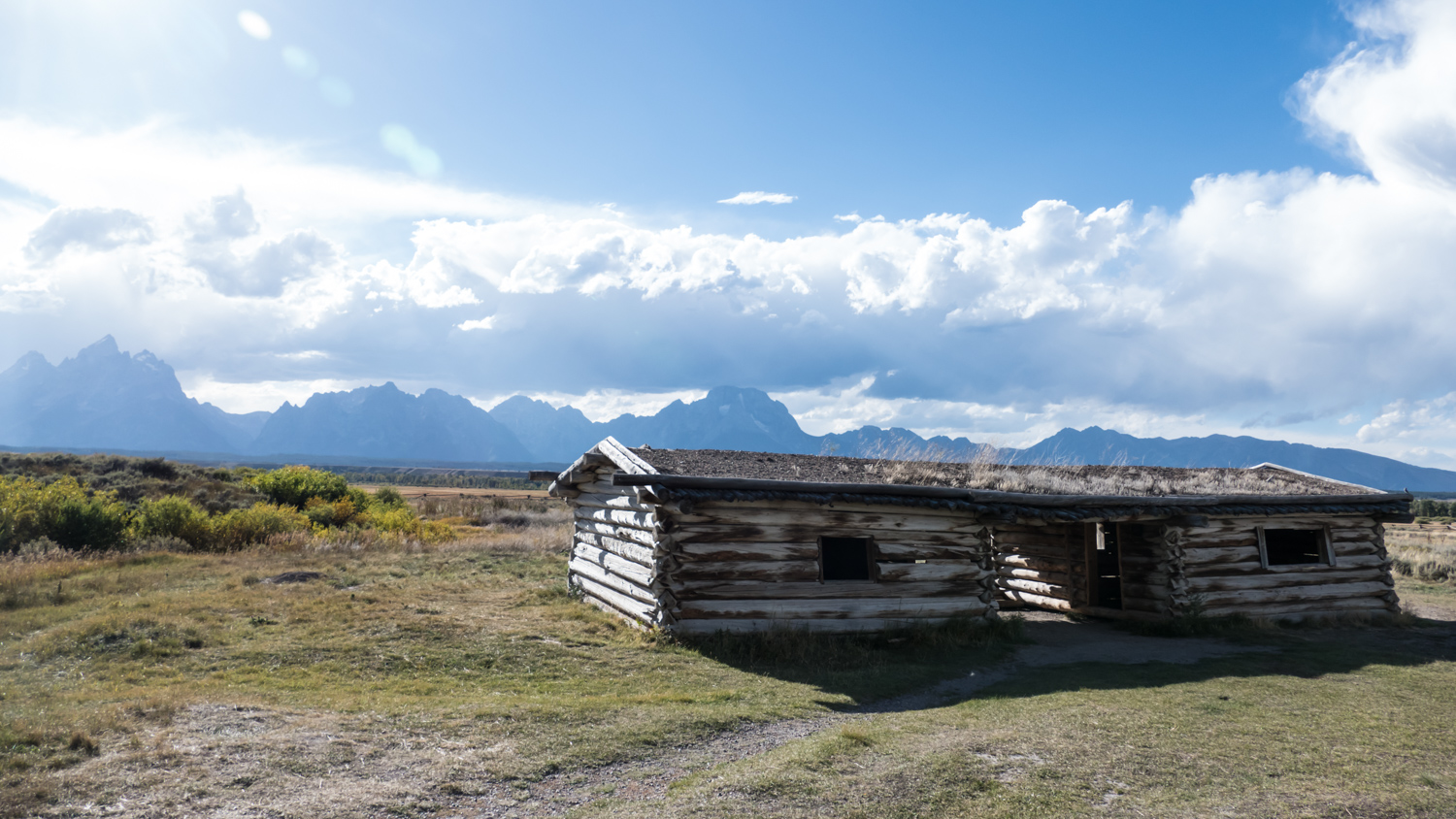 Cunningham cabin with Tetons in the background.