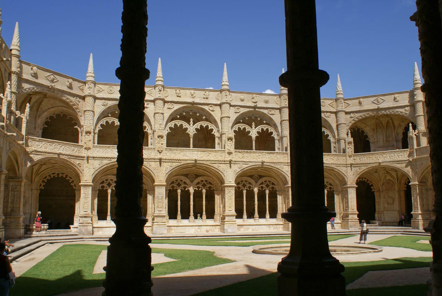 Courtyard of Monastery of Jeronimos in Belem