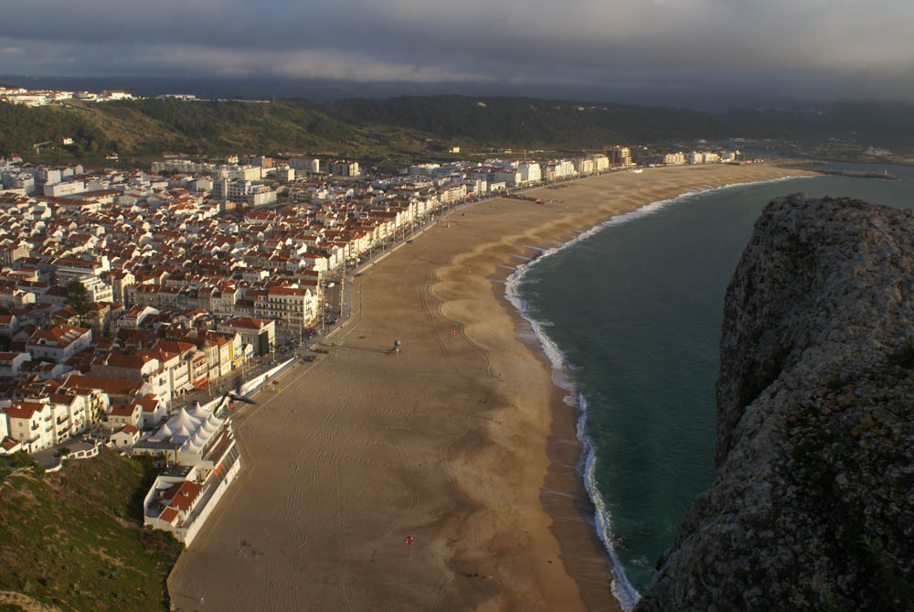 View of the scenic beach at Nazare from the upper town.