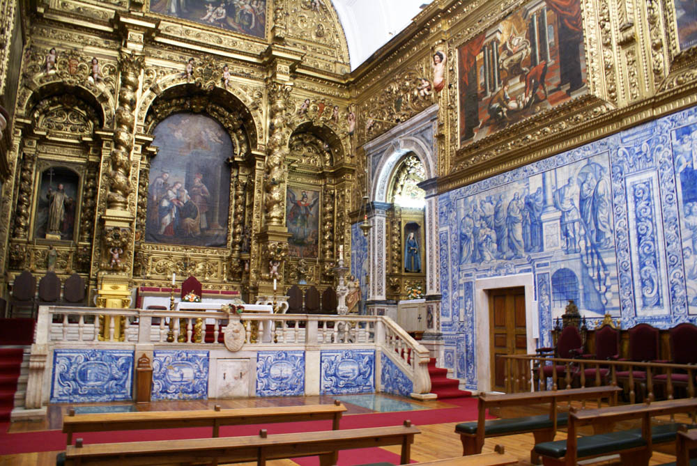Altar of the Chapel of Bones in Evora with Portuguese tile