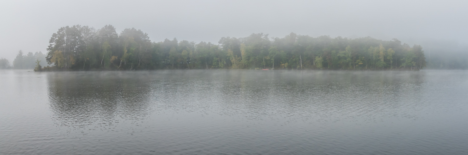 Panorama of the island in the fog