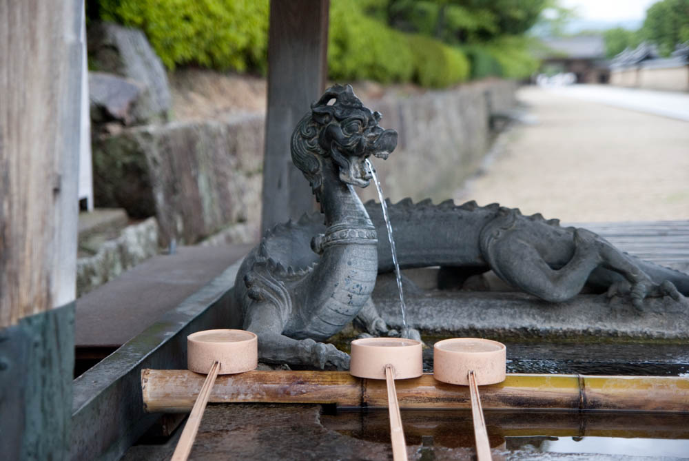 Purification fountain at the Horyu-ji Temple near Nara