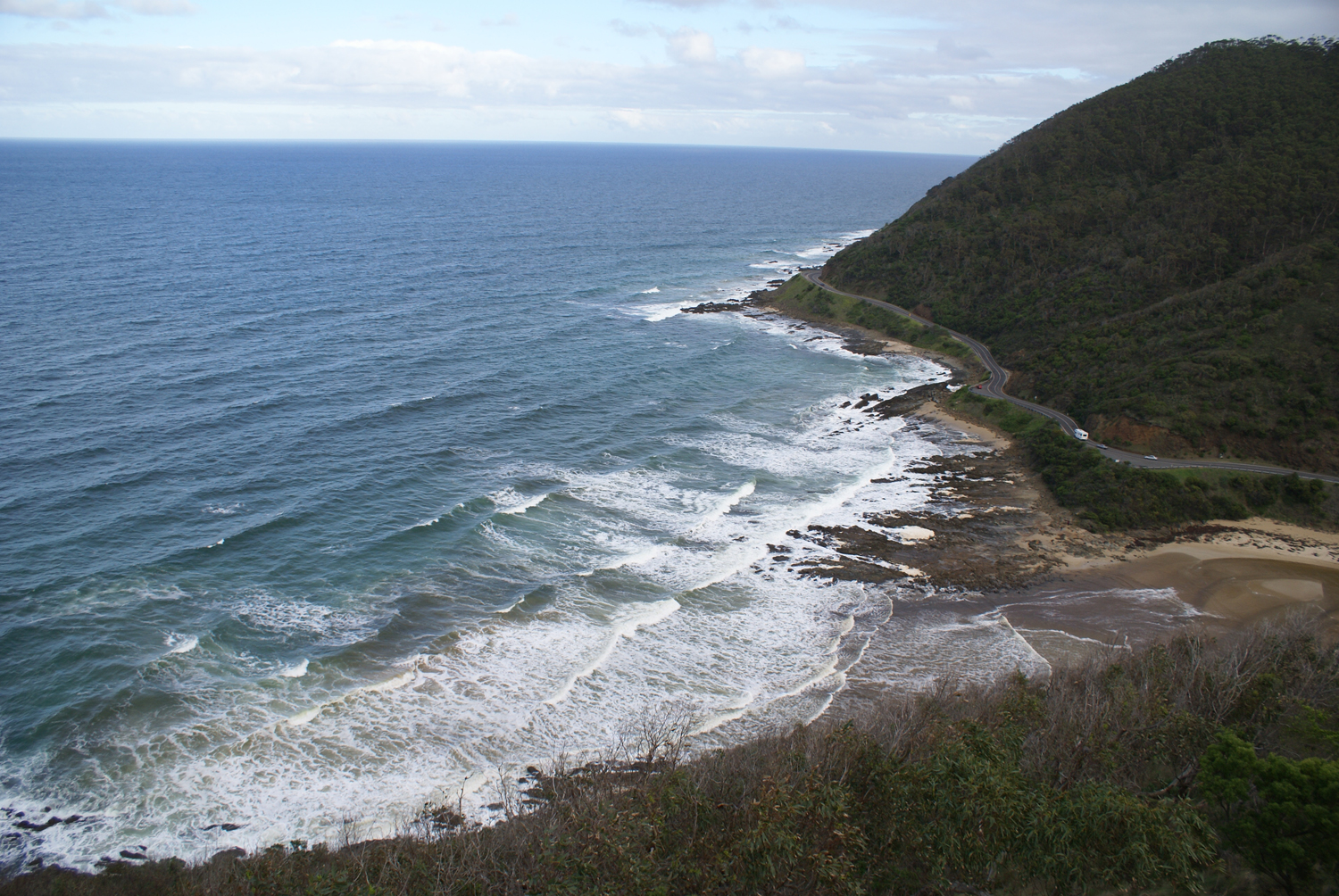 Scenic view on the Great Ocean Road to Lorne