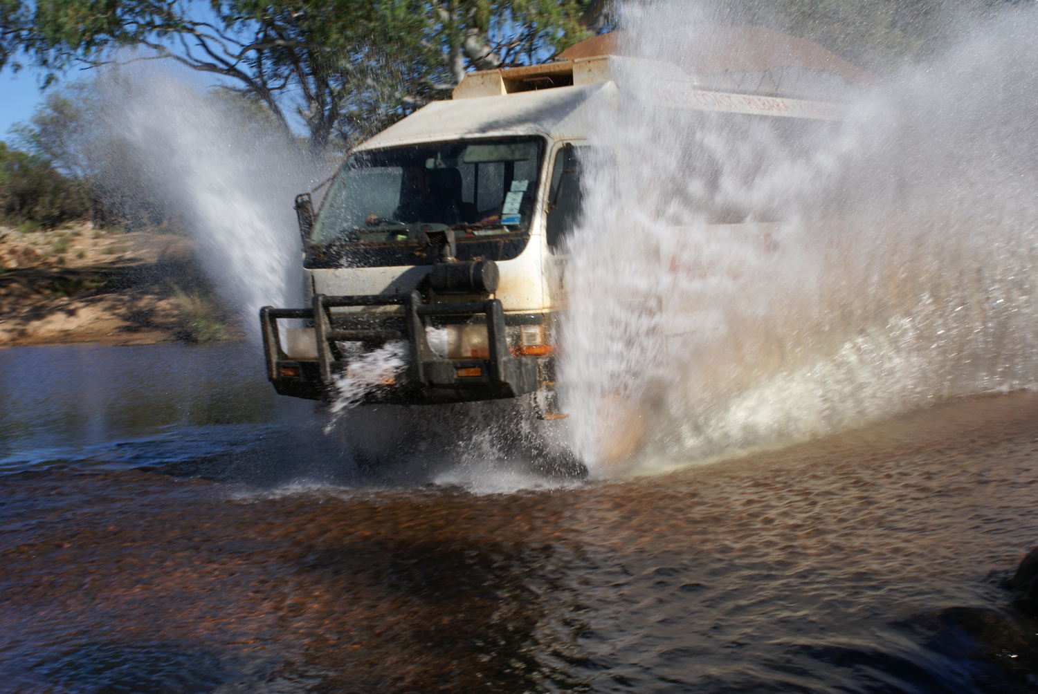 My picture of our van at a river crossing