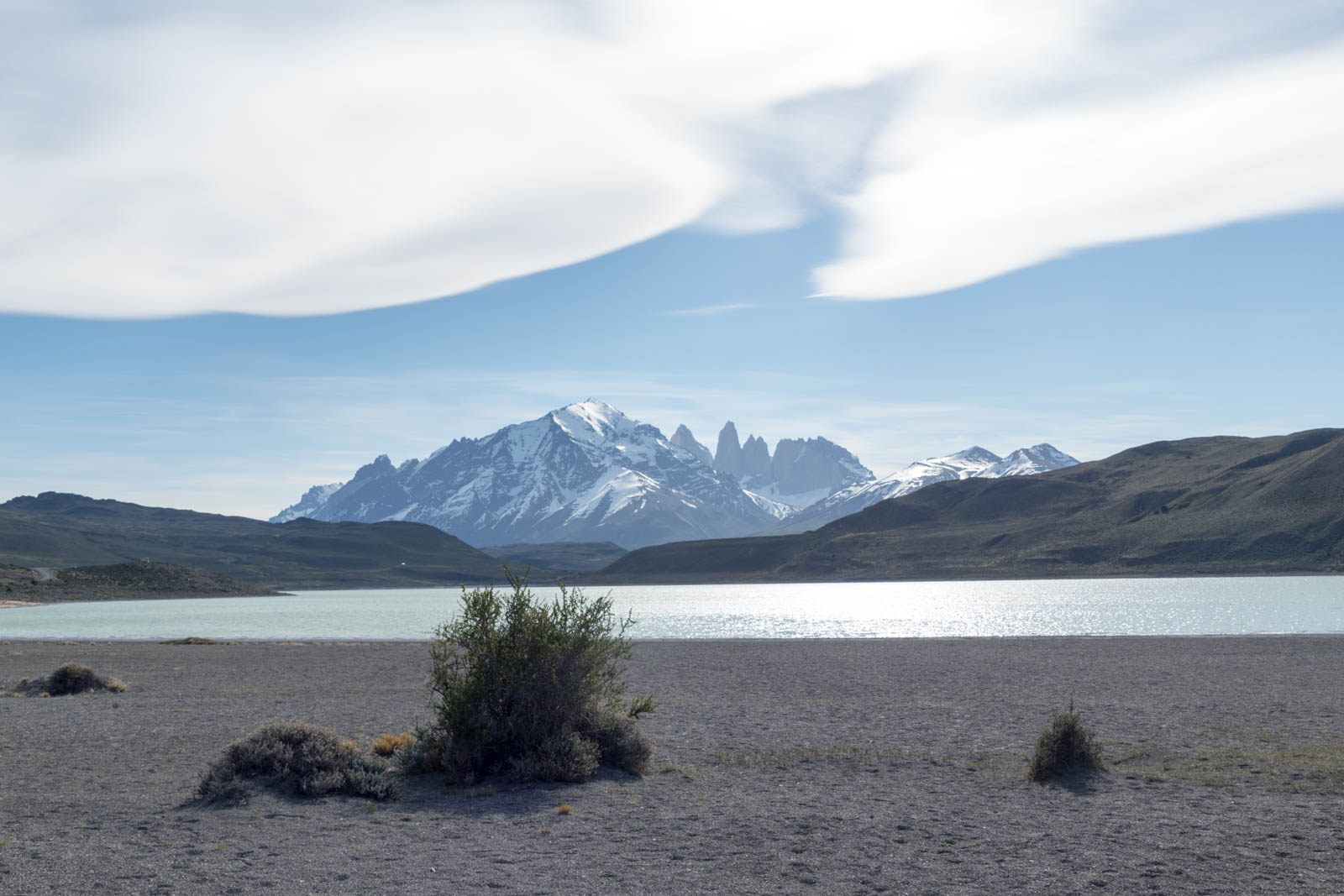 View of Torres del Paine with a lenticular cloud overhead from Lake Sarmiento