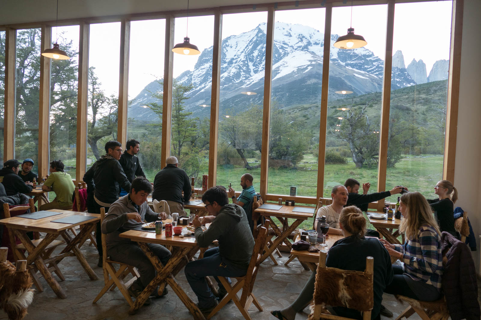 Dining hall of the Refugio Torres Central