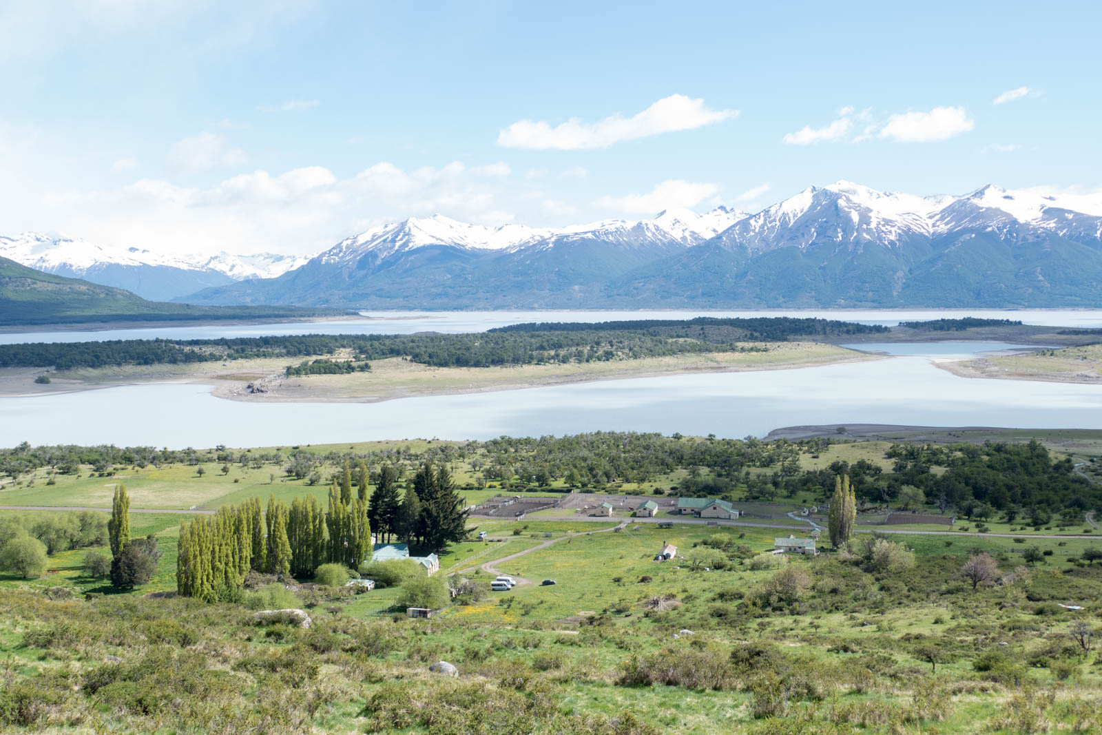 View of Nibepo Aike with Lago Roca and mountains behind