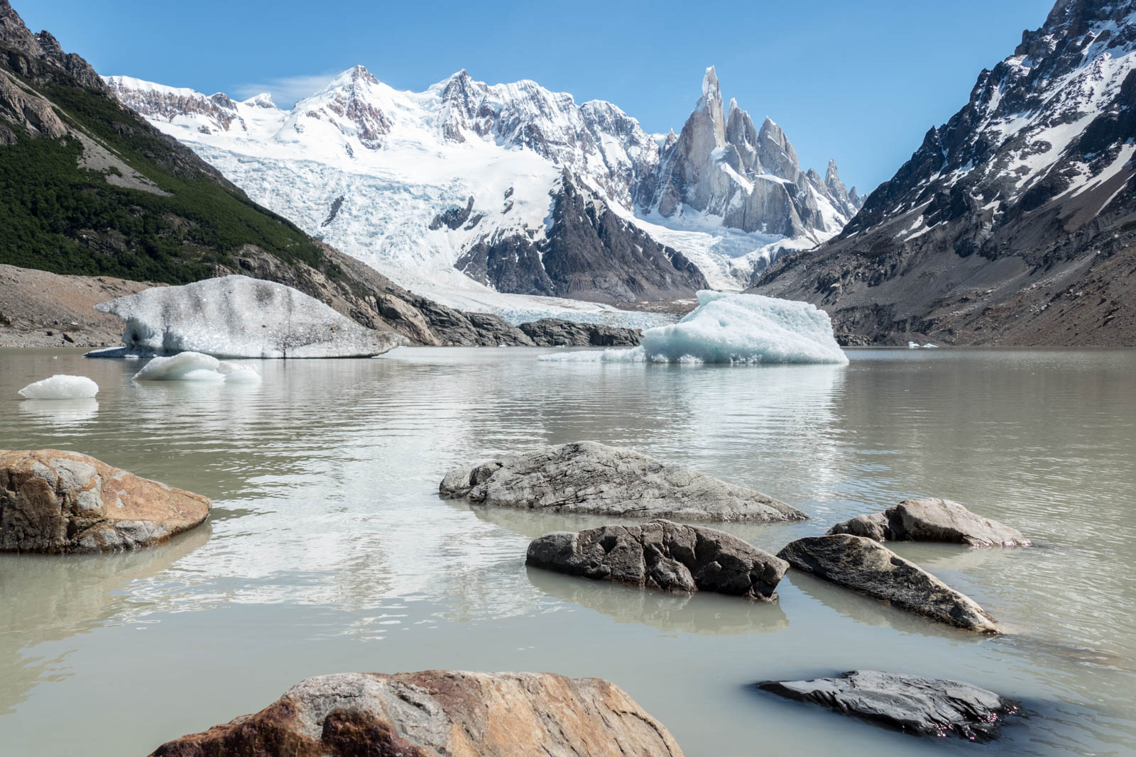 Laguna Torres with the Cerro Torre in the background. A disappointment of the hike was how murky the water in the laguna is, unlike the beautiful turquoise glacial water in most other lakes. Not sure why this is so for Laguna Torre.