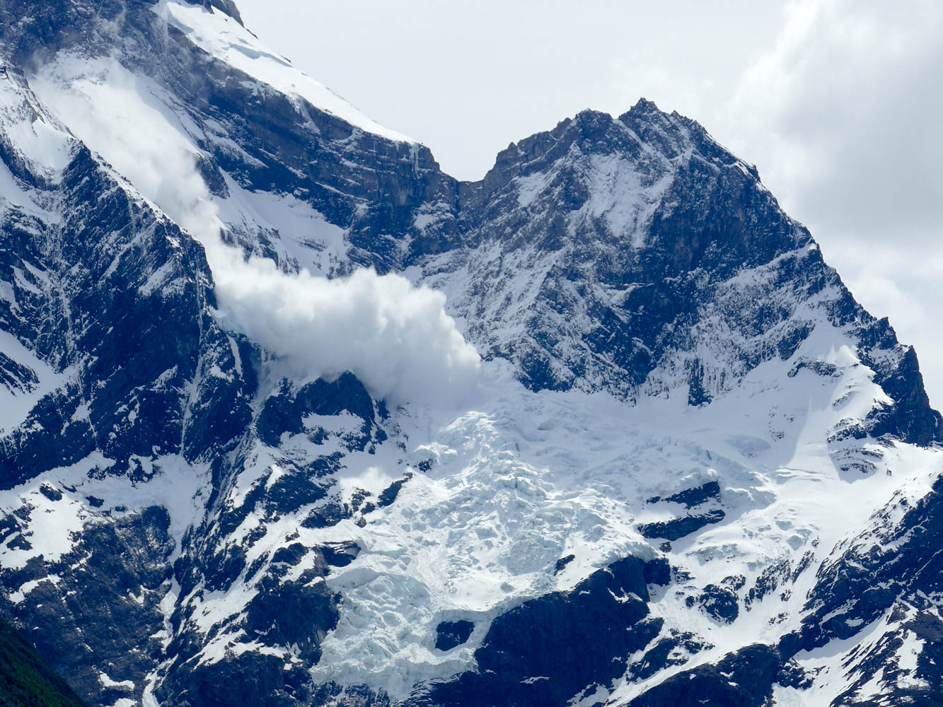 Avalanche on Paine Grande