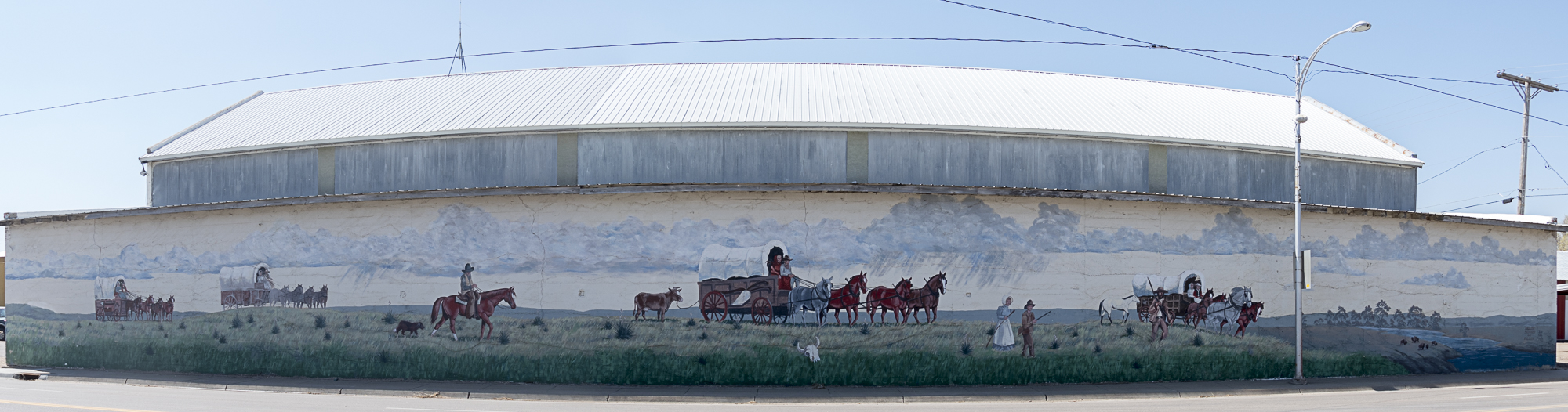 Street mural celebrating the Santa Fe trail in Syracuse, KS