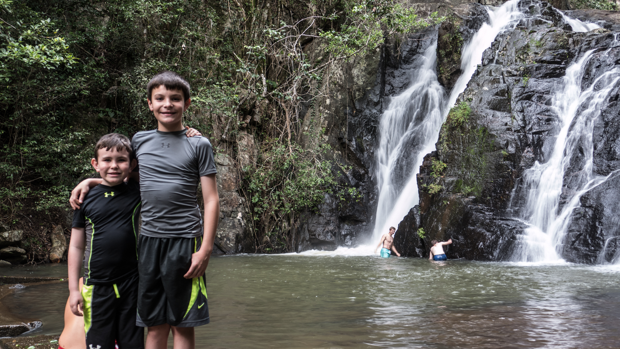 Josh and William at Dinner falls in Mt Hypipamee Nat'l Park