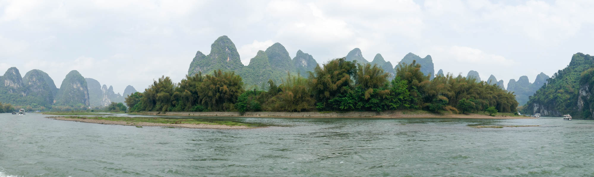 Panorama of karsts on Li River cruise