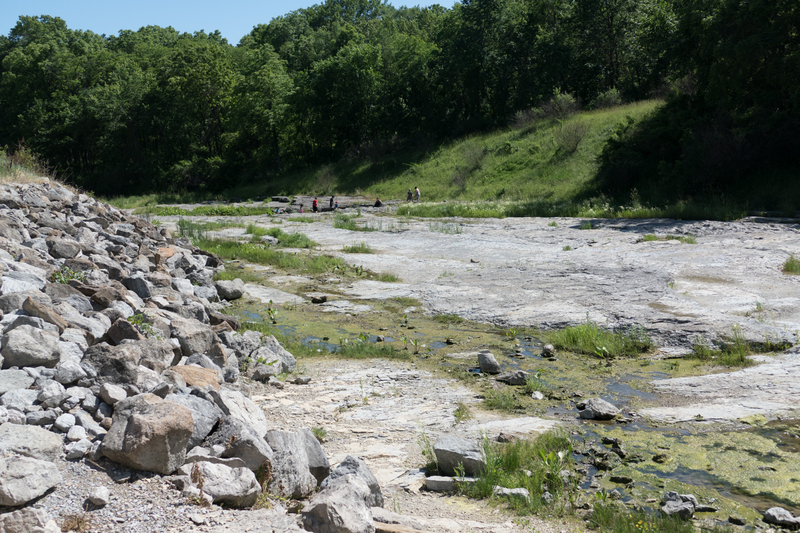 This is what remains of the campground following the two floods which moved huge rocks and sediment that revealed the fossils in the old sea bed.