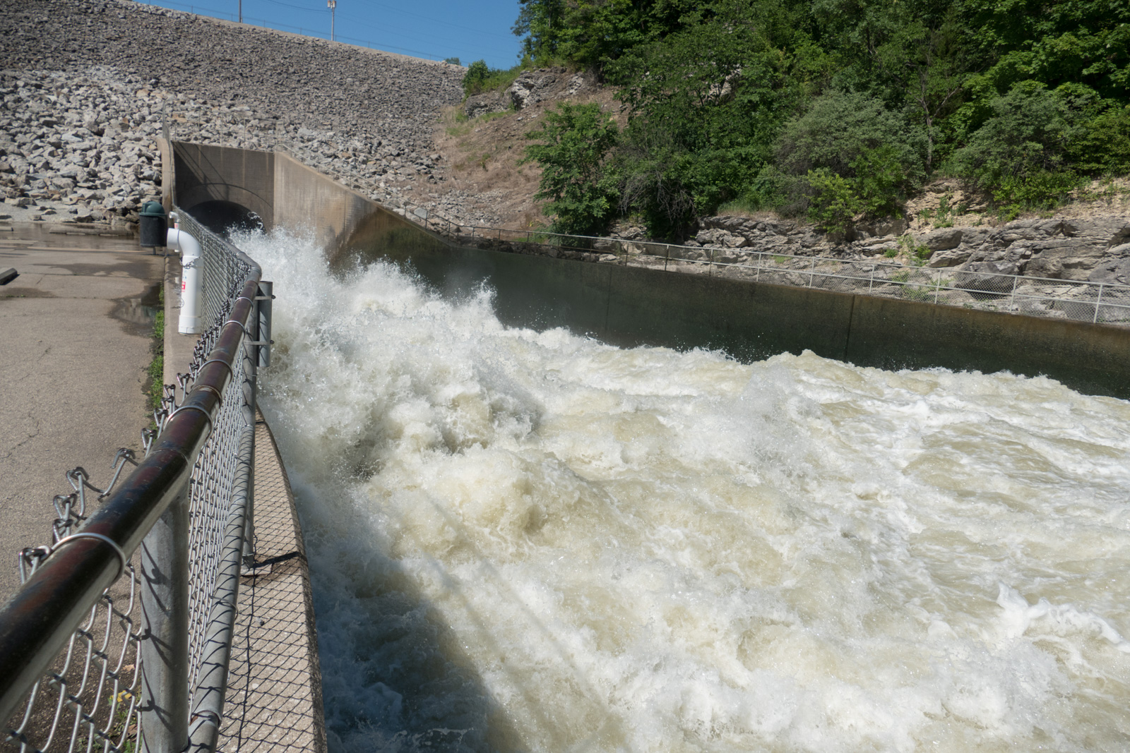 With the high water levels the torrent of water in the spillway to the dam was very impressive. One can just imagine what it was like to have enough water to overflow the top of the dam.