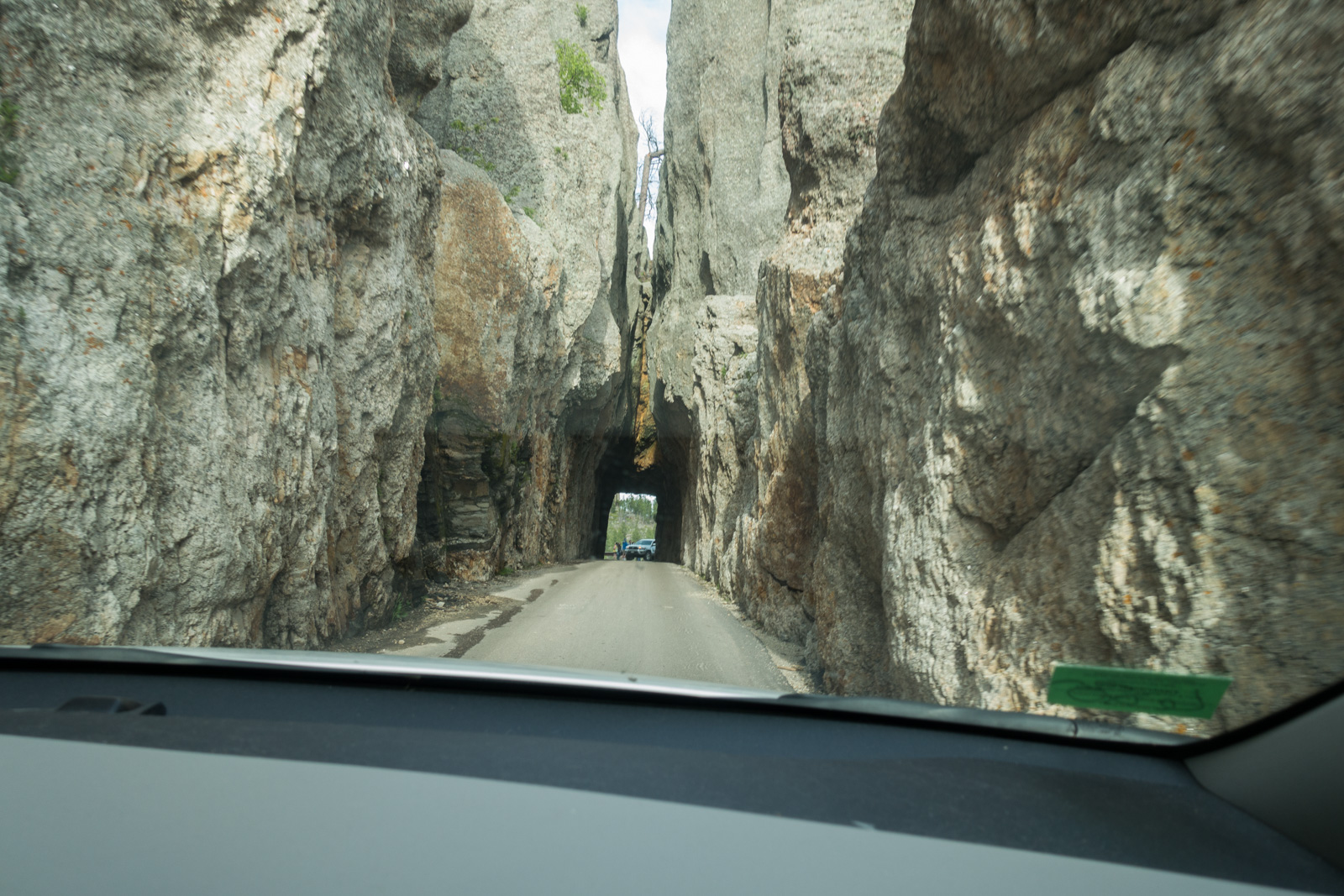 View of the Needles Tunnel through the windshield.