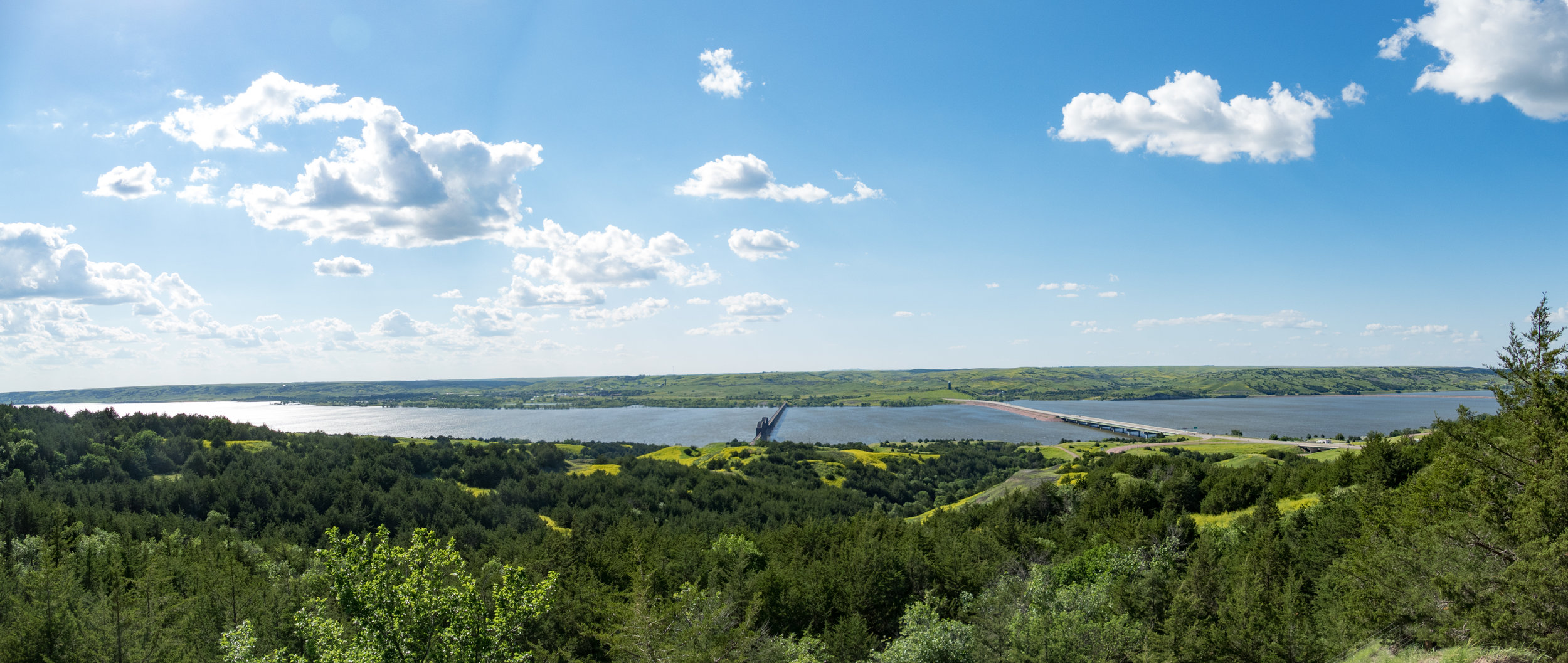 Panoramic overlook of the Missouri River at Chamberlain, SD
