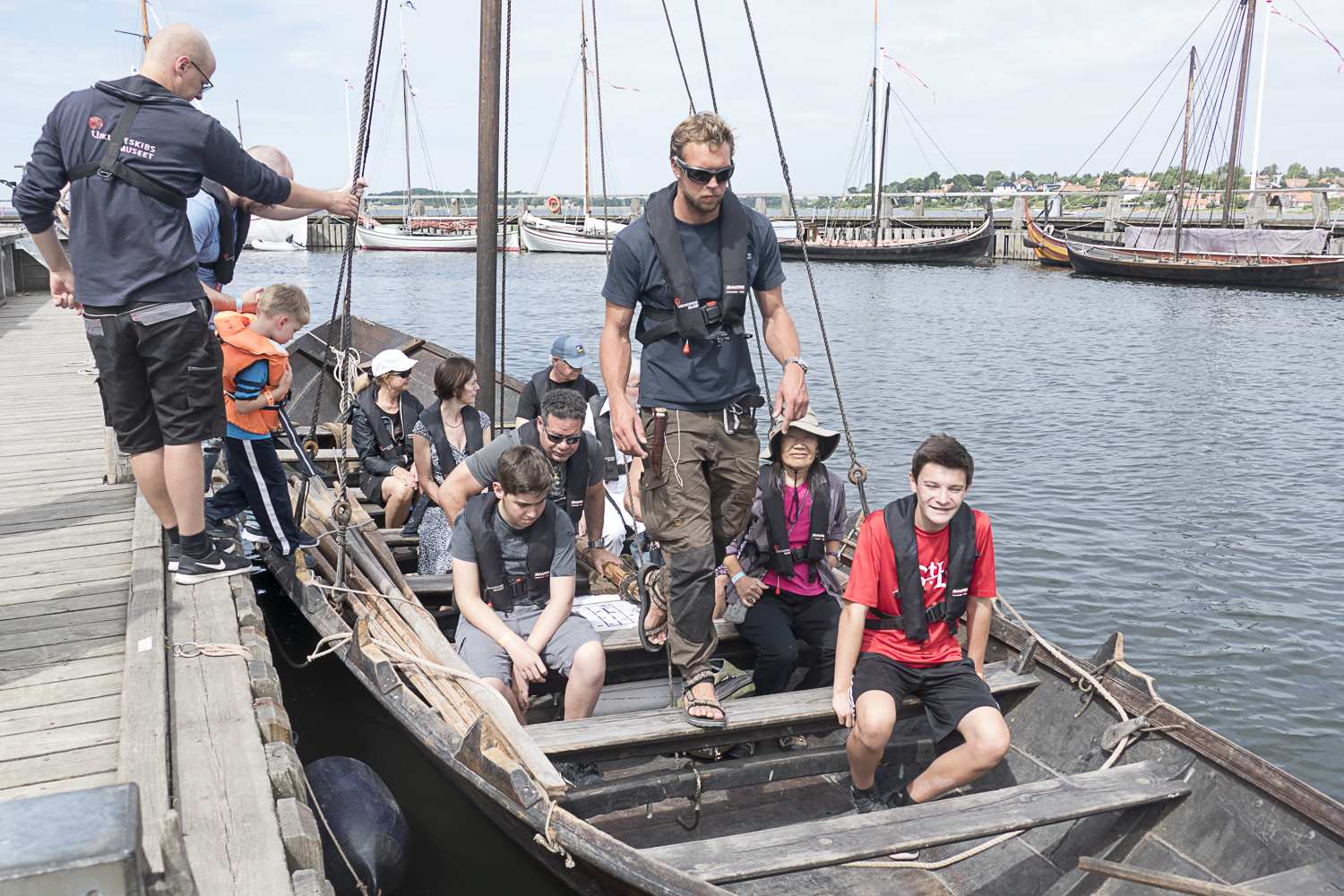 Getting ready to cast off for the rowing part of the tour on a replica Viking boat.