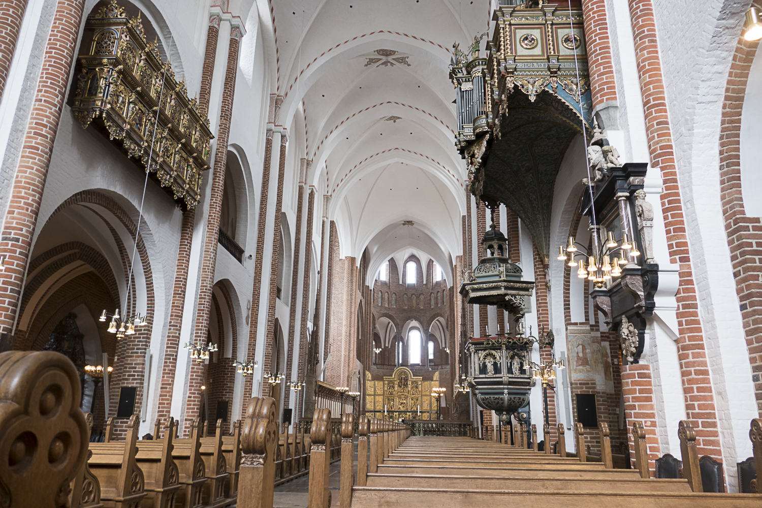 The interior of the Roskilde Cathedral