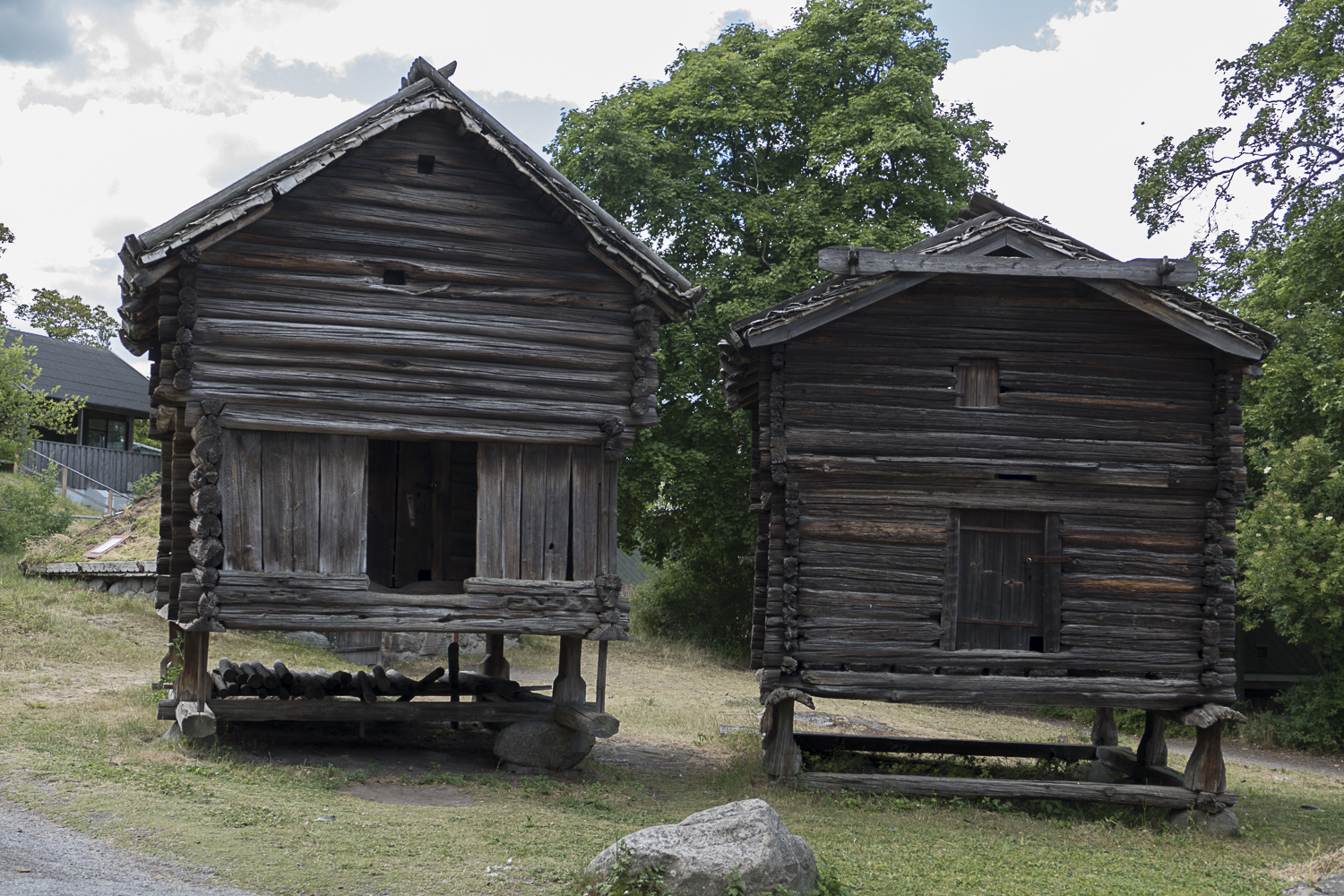 Log cabins on stilts