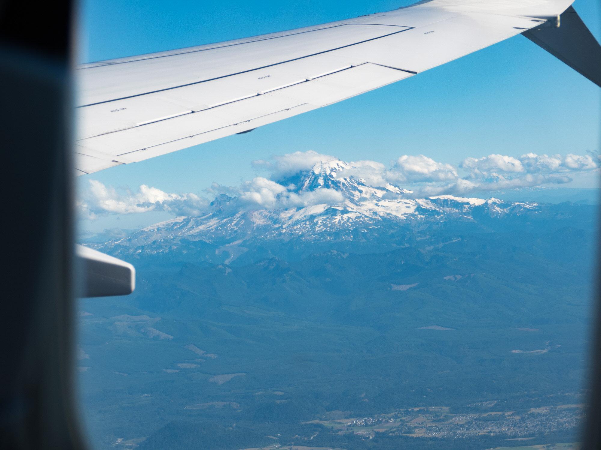 Bidding Mt. Ranier adieu from the airplane