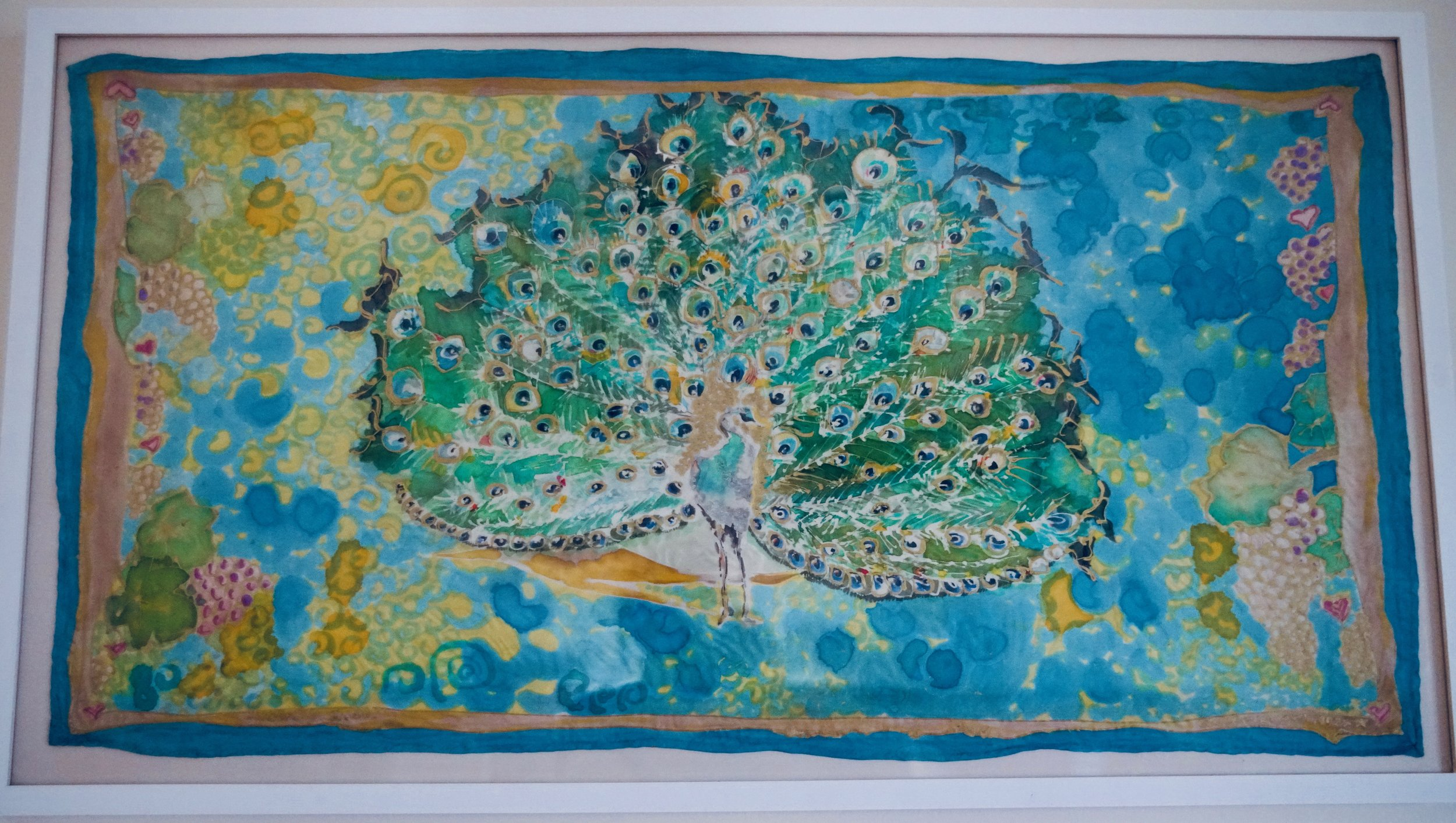THE PEACOCK OF ENLIGHTENMENT, PAINTING ON SILK, 46.4 X 26 INCHES