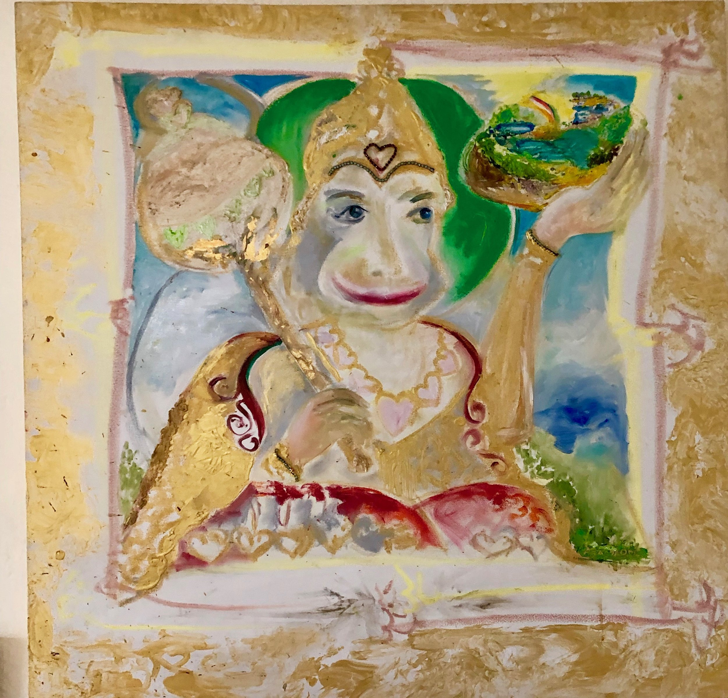 BLESSINGS OF HANUMAN'S PURE LOVE, ASSEMBLAGE COLLAGE PAINTING WITH GOLD LEAF, 36 X 36 INCHES