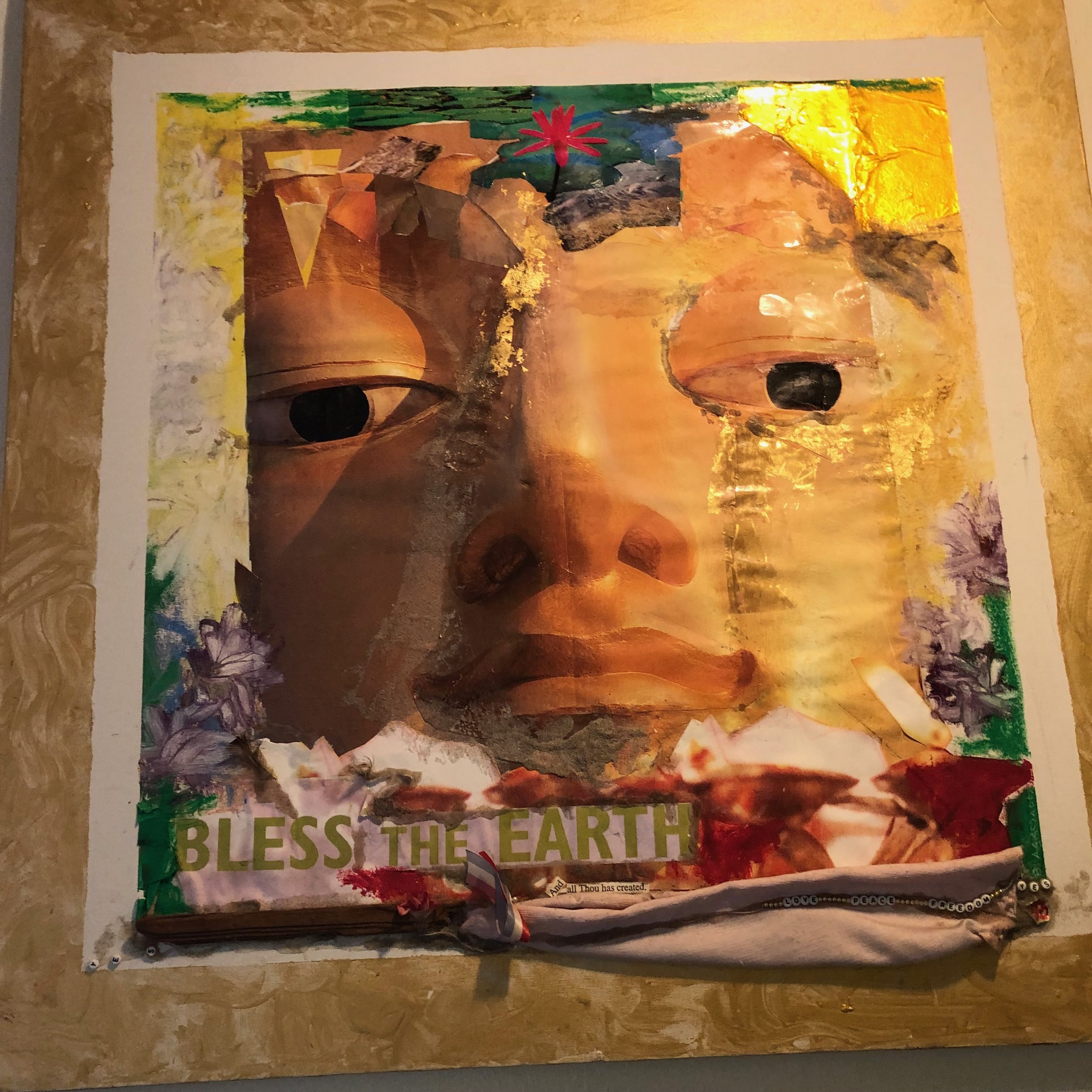 BLESS THE EARTH, ASSEMBLAGE PAINTING WITH GOLD LEAF, 36 X 36 INCHES
