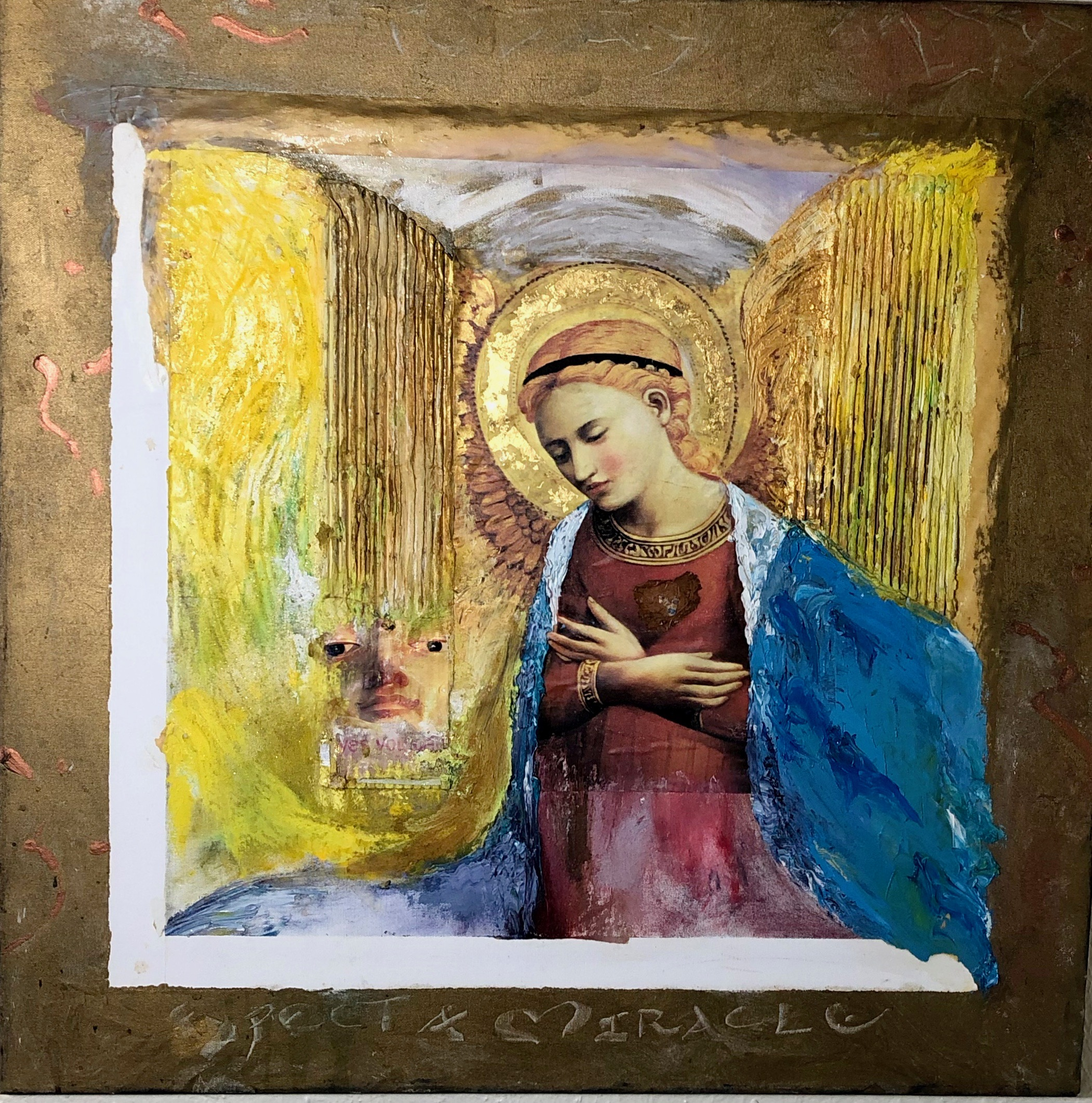 EXPECT A MIRACLE, ASSEMBLAGE PAINTING WITH GOLD LEAF, 30 X 30 INCHES