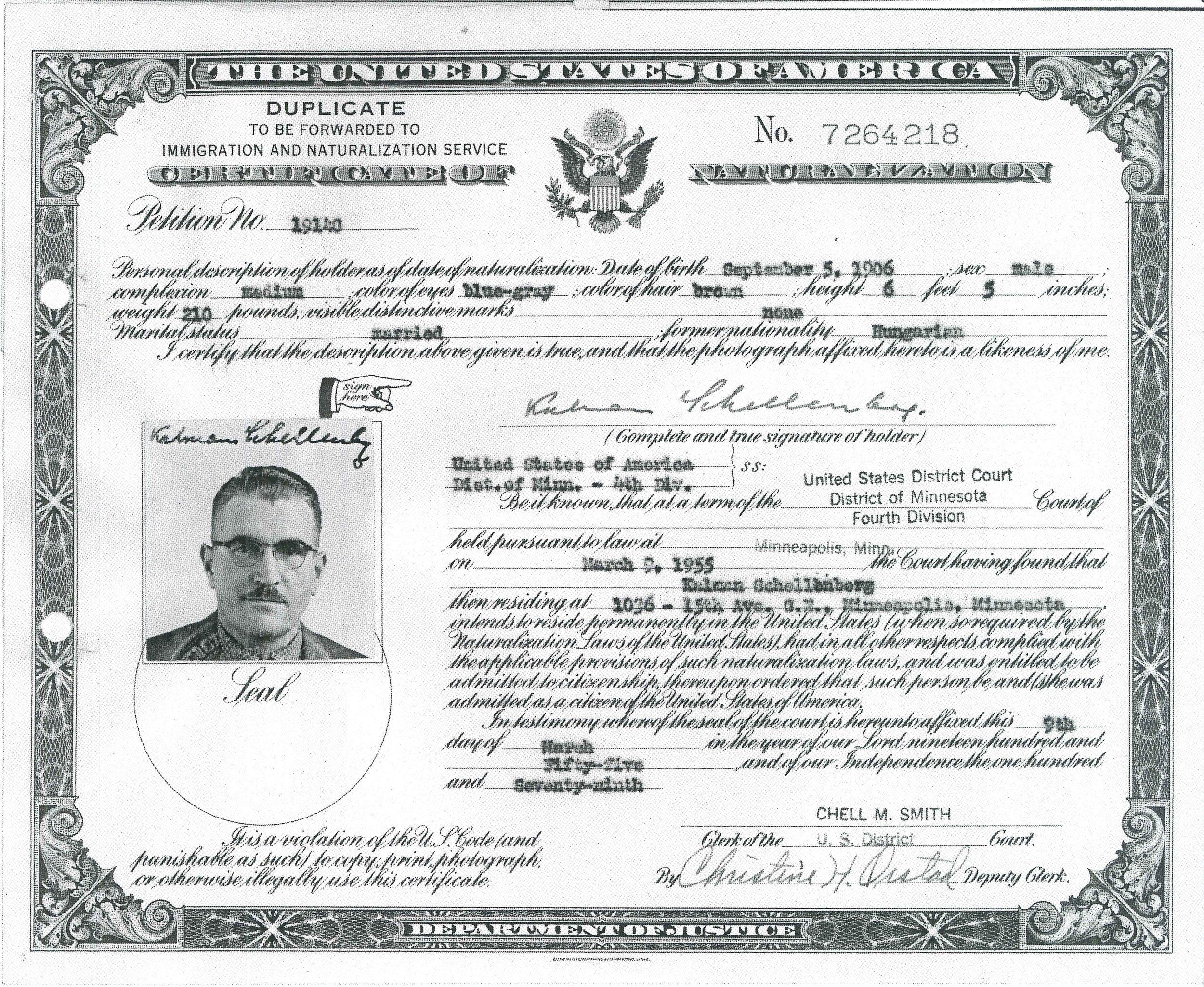 Kálmán Ede Schellenberg 1955 United States naturalization  Minneapolis, Minnesota