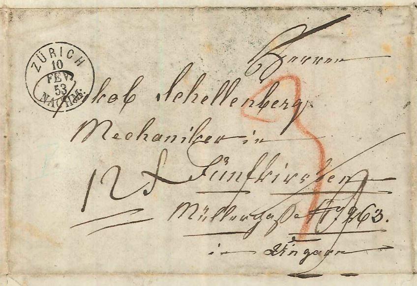 A letter addressed to Jakab Schellenberg in Pécs (Fünfkirchen), Kingdom of Hungary 1853