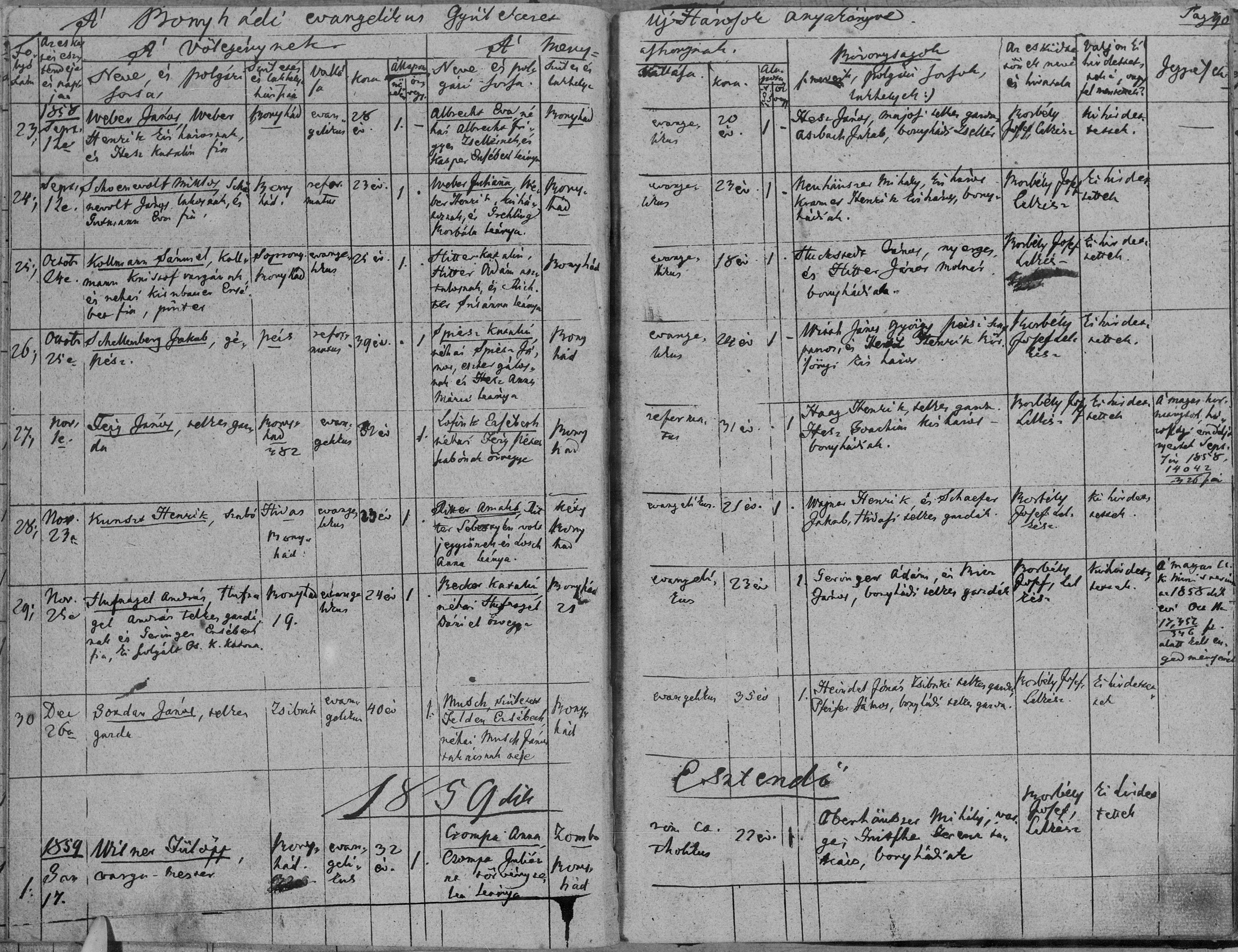Married: 25 October 1858  Groom: Schellenberg Jakab, engineer  Residence: Pécs  Confession: Reformed  Age: 39 years  Bride: Katalin Spiesz, daughter of Spiesz János, ?? and, Hesz Anna Mária  Residence: Bonyhád  Confession: Evangelical  Age: 24 years  Witnesses: Wirth János György and Hesz Henrik