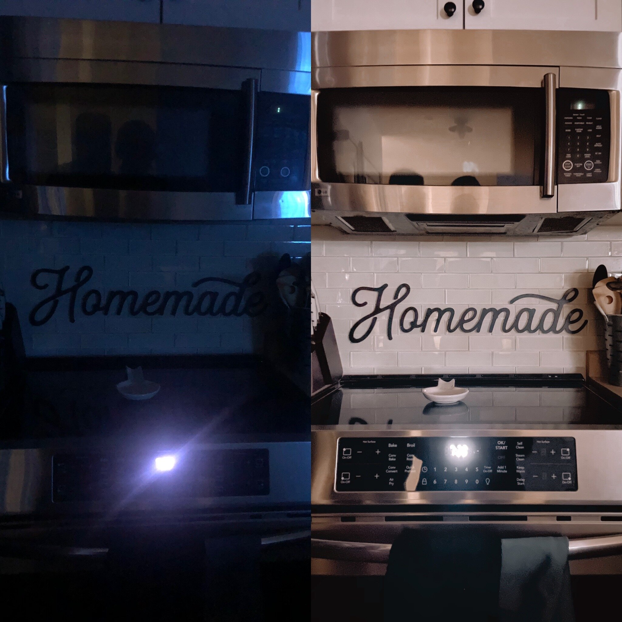Lights entirely off, shooting both images at the same time (as you can see my husband and I in the microwave reflection) on the left older iPhone X and on the right, iPhone 12 PRO in night mode.