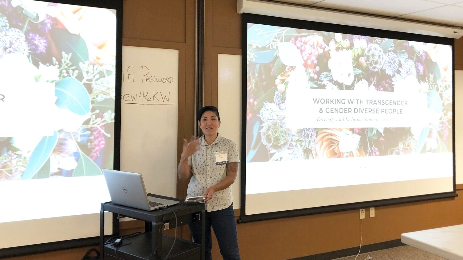 "Organizer M Benitez facilitates the workshop, ""Working with Transgender & Gender Diverse People"" at ANEW's 2019 Diversity & Inclusion Summit"