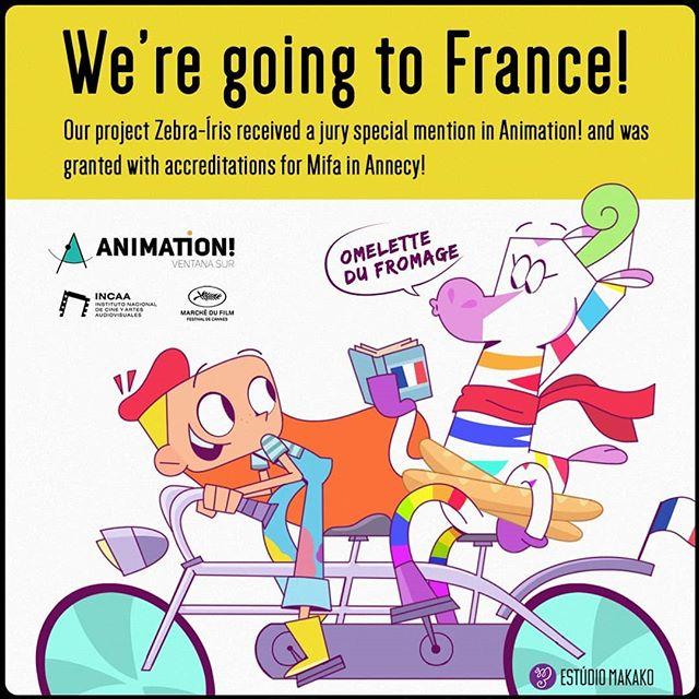 Vamos pra França! ZEBRA Íris, o nosso projeto de série animada ganhou uma menção honrosa do júri do Animation! e registro no MIFA em Annecy!! 🦓🌈❤️