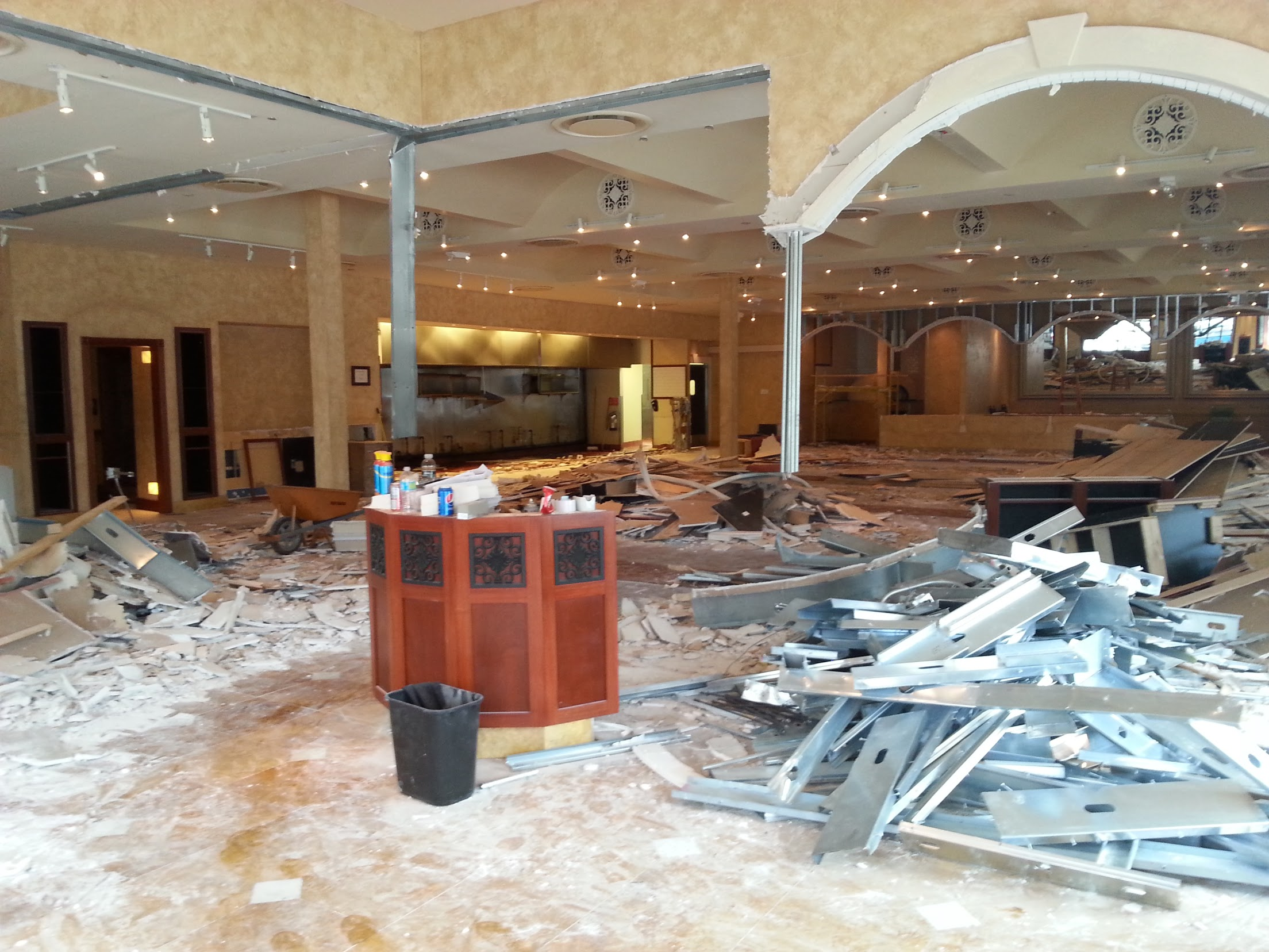 Total demolition of an upscale restaurant interior.