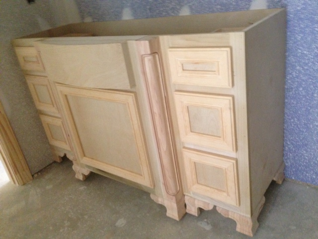 Vanity cabinet designed and hand built for a master bathroom.