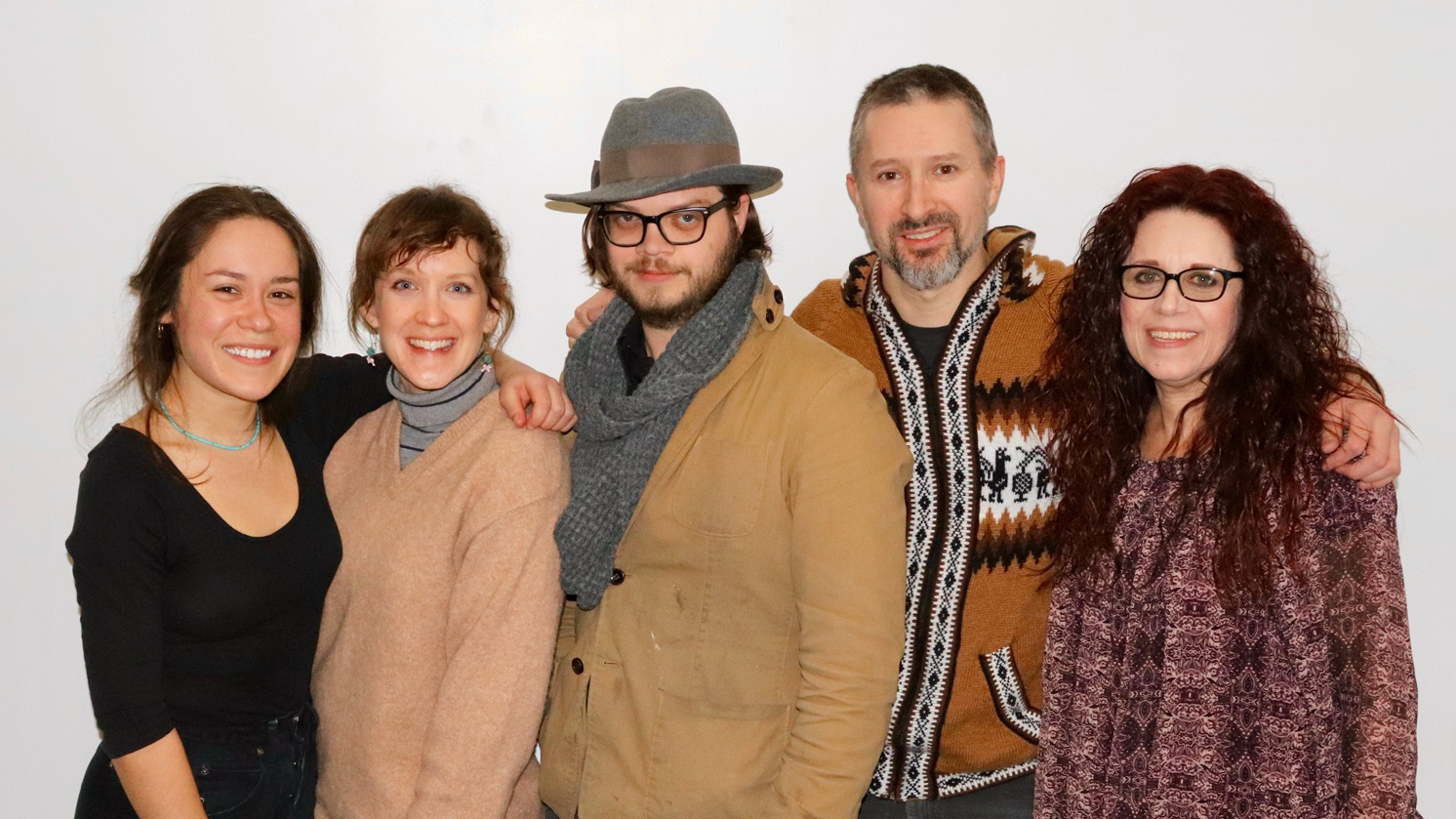 from left to right: Anne Dovali, Holly Kranker, Tyler Swain, Travis Apel, and Elizabeth Boutin